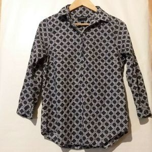 Lands End Blue & White Blouse Long Sleeve 6